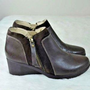 Jambu Cube Hyper Grip Leather Wedge Ankle Boots